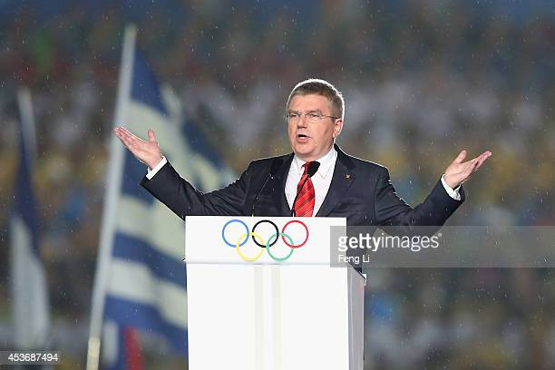 President Thomas Bach speaks during the opening ceremony for the Nanjing 2014 Summer Youth Olympic Games at the Nanjing Olympic Sports Centre on...