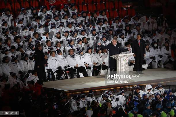 President Thomas Bach speaks during the Opening Ceremony of the PyeongChang 2018 Winter Olympic Games at PyeongChang Olympic Stadium on February 9...
