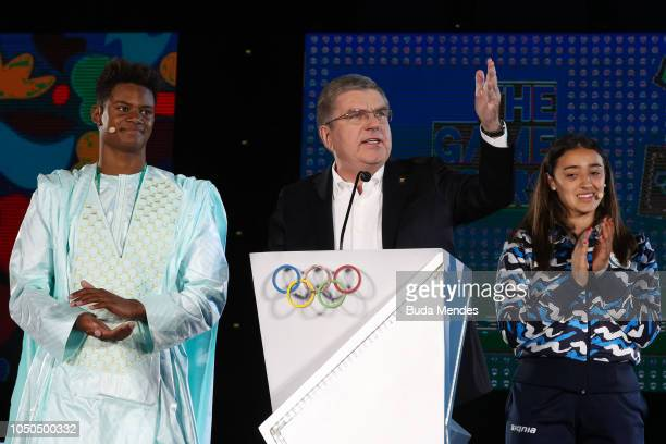 President Thomas Bach speaks during the opening ceremony of the Buenos Aires 2018 Youth Olympic Games at Obelisco monument on October 06 2018 in...