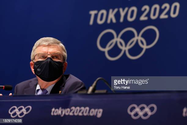 President Thomas Bach speaks during the press conference after the IOC Executive Board meeting on July 17, 2021 in Tokyo, Japan.