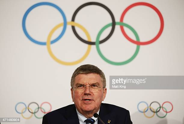 President Thomas Bach speaks to the media at a press conference at the Museum of Contemporary Art on April 29 2015 in Sydney Australia