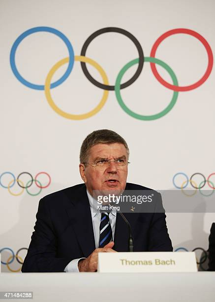 President Thomas Bach speaks to the media at a press conference at the Museum of Contemporary Art on April 29, 2015 in Sydney, Australia.