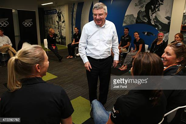 President Thomas Bach speaks with New Zealand althletes during a visit to the Avantidrome on May 6 2015 in Cambridge New Zealand