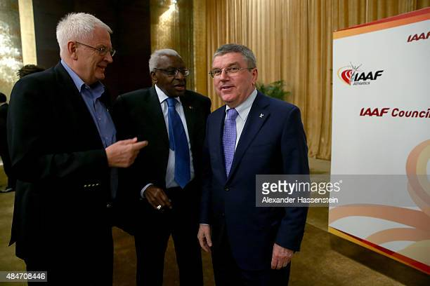 President Thomas Bach talks to EAA President Svein Arne Hansen and IAAF President Lamine Diack the IAAF Council and IOC Executive Board meeting at...