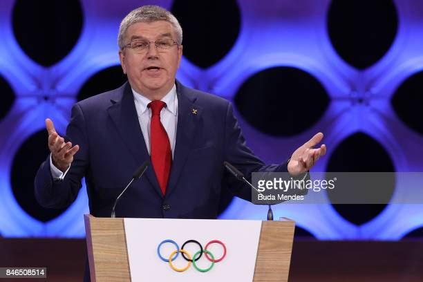 President Thomas Bach talks to the attendats during the 131th IOC Session 2024 2028 Olympics Hosts Announcement at Lima Convention Centre on...