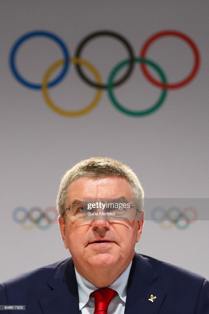 IOC President Thomas Bach talks to the press during a joint press conference between IOC, Paris 2024 and LA2028 during the131th IOC Session - 2024 & 2028 Olympics Hosts Announcement at Lima Convention Centre on September 13, 2017 in Lima, Peru.