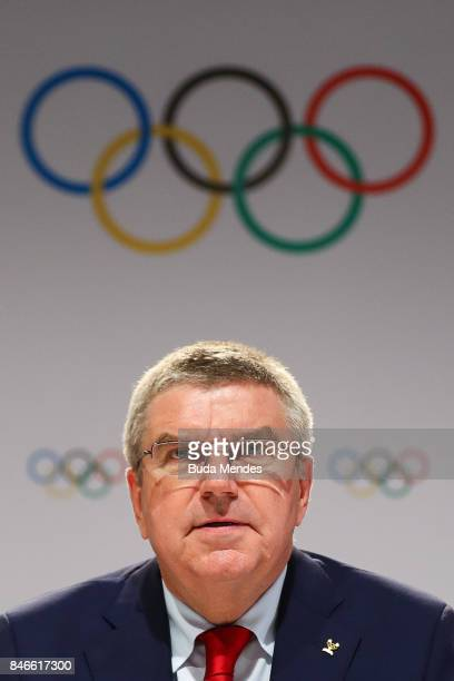 President Thomas Bach talks to the press during a joint press conference between IOC Paris 2024 and LA2028 during the131th IOC Session 2024 2028...