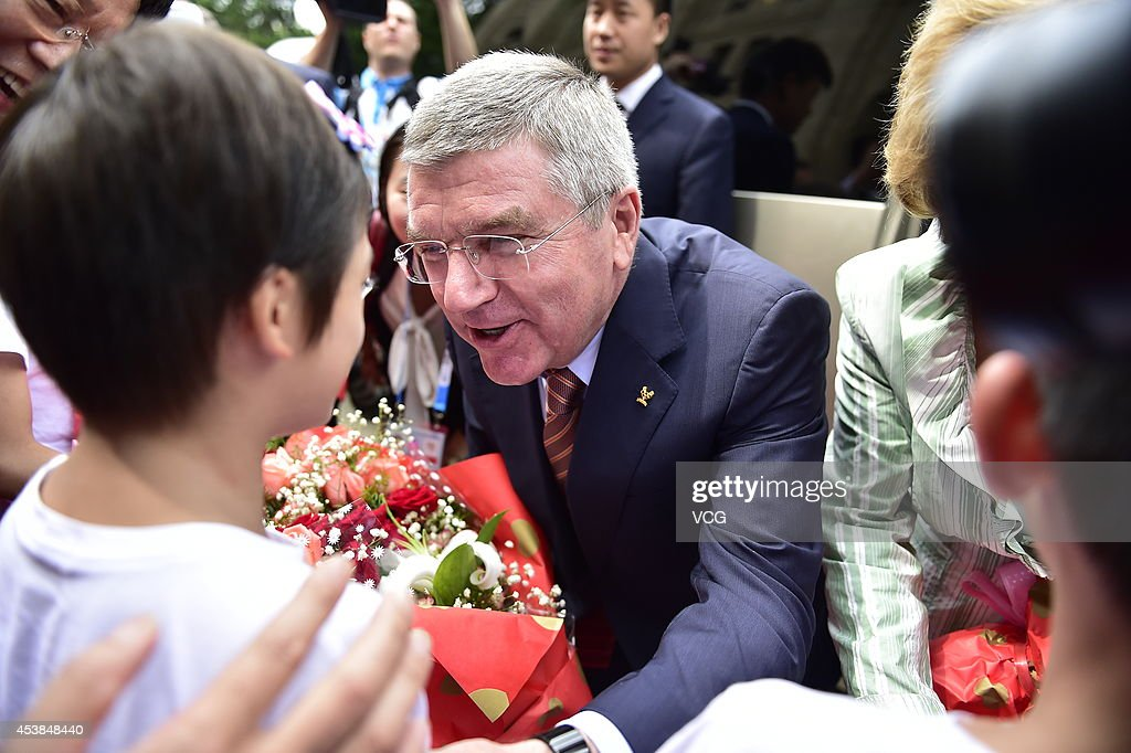IOC President Thomas Bach visits the Nanjing Sport Institute on day three of the Nanjing 2014 Summer Youth Olympic Games on August 19, 2014 in Nanjing, China.