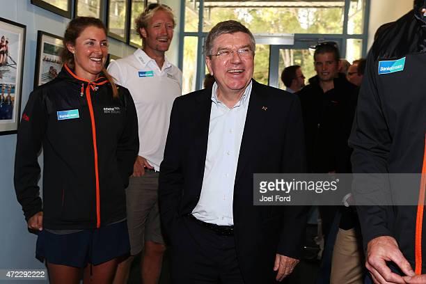 President Thomas Bach visits the New Zealand Rowing High Performance centre on May 6 2015 at Lake Karapiro New Zealand