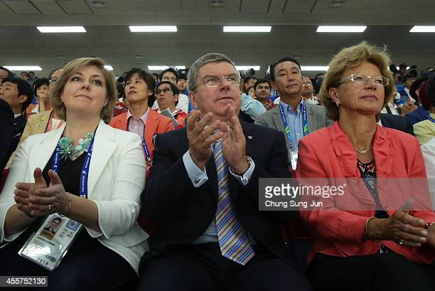 President Thomas Bach vists at the Ongnyeon International Shooting Range during the 2014 Asian Games at on September 20 2014 in Incheon South Korea