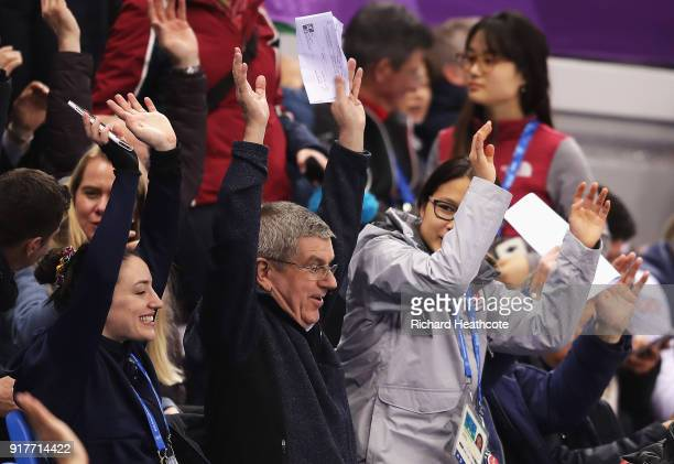 President Thomas Bach watches the Ladies' 500m Short Track Speed Skating on day four of the PyeongChang 2018 Winter Olympic Games at Gangneung Ice...