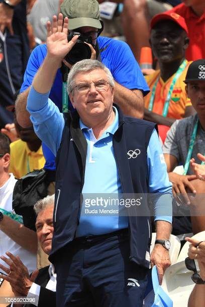 President Thomas Bach watches the Women's Team Gold Medal Match during day 11 of Buenos Aires 2018 Youth Olympic Games at Green Park on October 17...