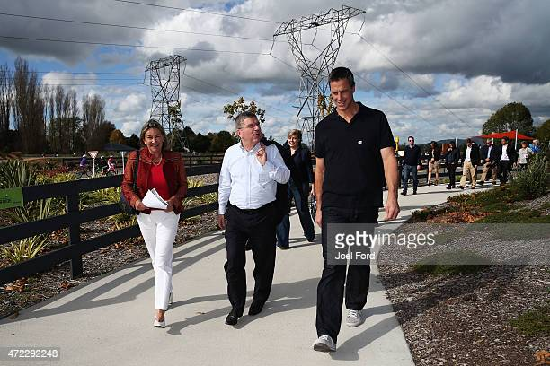 President Thomas Bach with Chair of Home of NZ Cycling Susan Paterson and Rob Waddell during a visit to the Avantidrome on May 6 2015 in Cambridge...