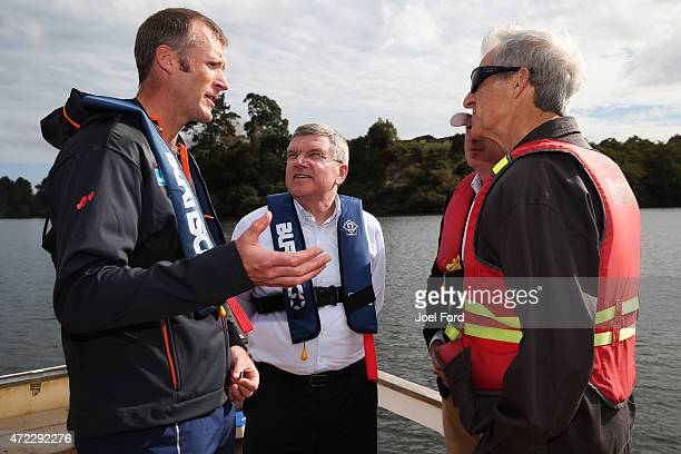 President Thomas Bach with Mahe Drysdale and IOC member Barry Maister during a visit to the New Zealand Rowing High Performance centre on May 6 2015...