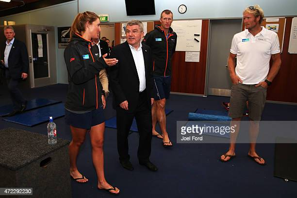 President Thomas Bach with New Zealand rowers Rebecca Scown Mahe Drysdale and Eric Murray during a visit to the New Zealand Rowing High Performance...