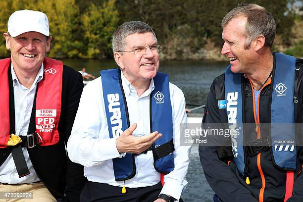 President Thomas Bach with NZOC president Mike Stanley and Mahe Drysdale a visit to the New Zealand Rowing High Performance centre on May 6 2015 at...