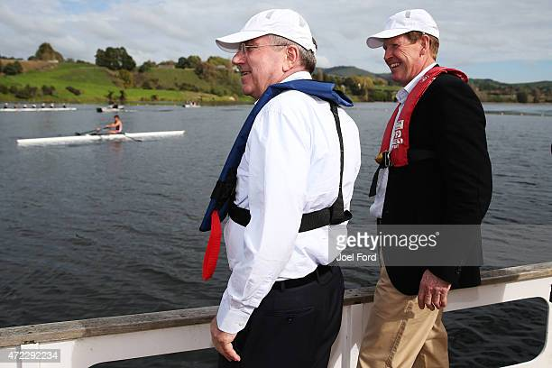 President Thomas Bach with NZOC president Mike Stanley during a visit to the New Zealand Rowing High Performance centre on May 6 2015 at Lake...