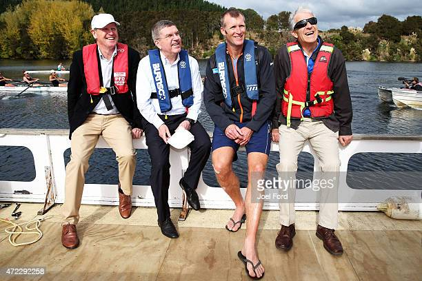 President Thomas Bach with NZOC president Mike Stanley Mahe Drysdale and IOC member Barry Maister during a visit to the New Zealand Rowing High...