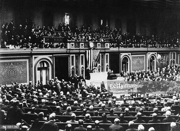 US president Thomas Woodrow Wilson announcing the Congress America's entry into World War I Washington 2nd April 1917