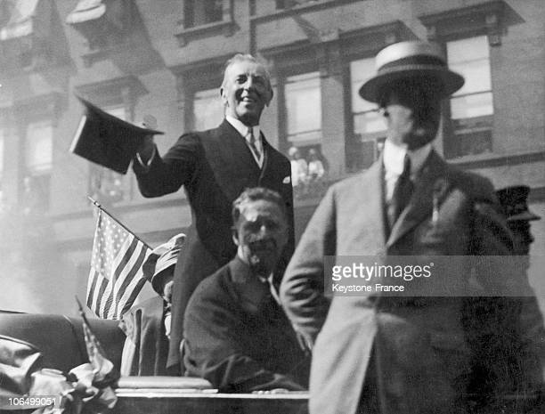 S President Thomas Woodrow Wilson Going Through The Streets Of New York Either At The Time Of His Being Elected President In 1912 Or Later In 1916 Or...