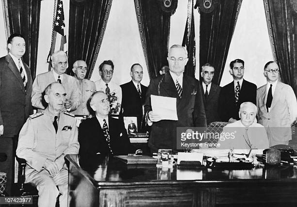President Truman Announcing Wars End At Washington White House In Usa On August 14Th 1945