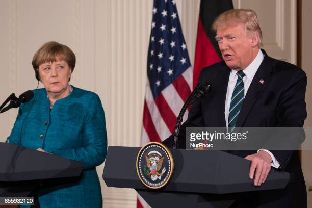 President Trump and Chancellor Angela Merkel of Germany held a joint press conference in the East Room of the White House on Friday March 17 2017