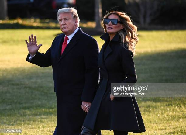 President Trump and first lady Melania Trump depart the White House on Wednesday afternoon, Dec. 23, 2020. MUST CREDIT: Washington Post photo by Toni...