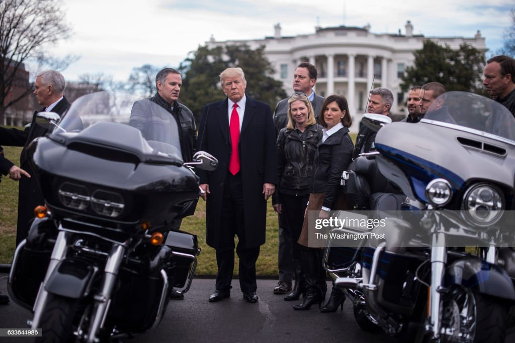 President Trump and Vice President Mike Pence meet with Harley Davidson executives and Union Representatives on the South Lawn of the White House in Washington, DC on Thursday, Feb. 02, 2017.
