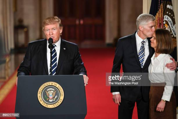 President Trump as he welcomes Judge Neil Gorsuch during a Supreme Court of the United States nominee announcement in the East Room at the White...