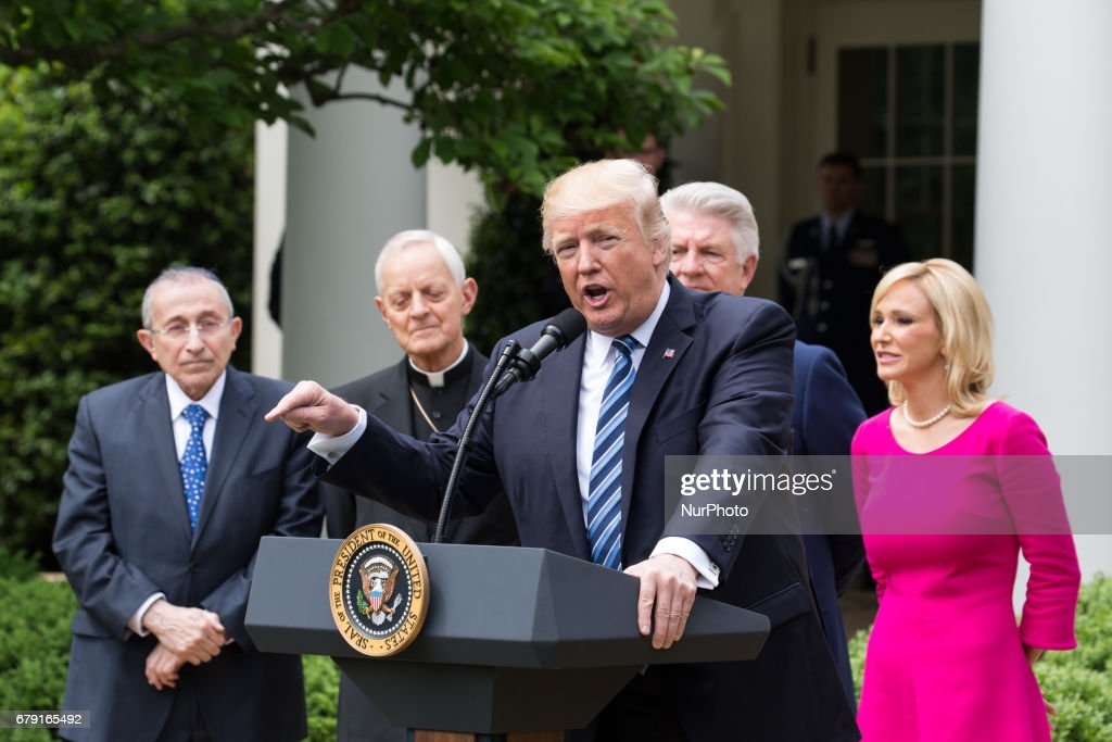 President Trump, at the National Day of Prayer ceremony, in the Rose Garden of the White House, On Thursday, May 4, 2017.