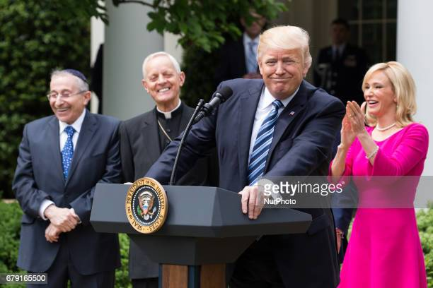 President Trump at the National Day of Prayer ceremony in the Rose Garden of the White House On Thursday May 4 2017