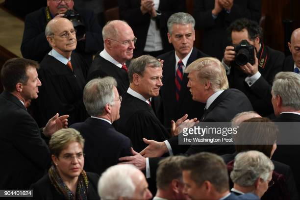 President Trump greets the chamber before his first address before a joint session of Congress on Tuesday Feb 28 at the US Capitol in Washington DC
