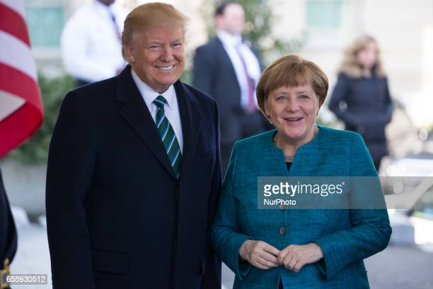 President Trump welcomed Chancellor Angela Merkel of Germany at the West Wing Portico of the White House On Friday March 17 2017