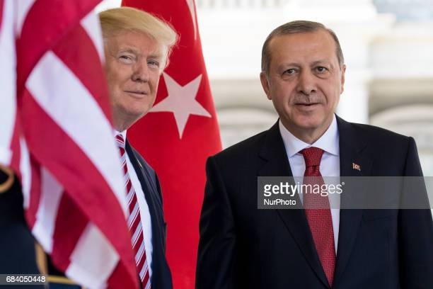 President Trump welcomed President Recep Tayyip Erdogan of Turkey at the West Wing Portico of the White House On Monday May 16 2017