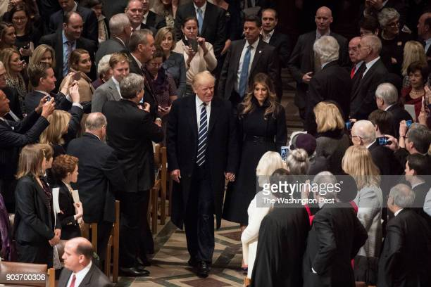 President Trump with first lady Melania Trump arrives at the National Prayer Service at the Washington National Cathedral in Washington DC on...