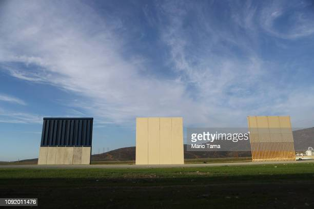 President Trump's border wall prototypes are displayed on the US side of the USMexico border on January 9 2019 as seen from Tijuana Mexico President...