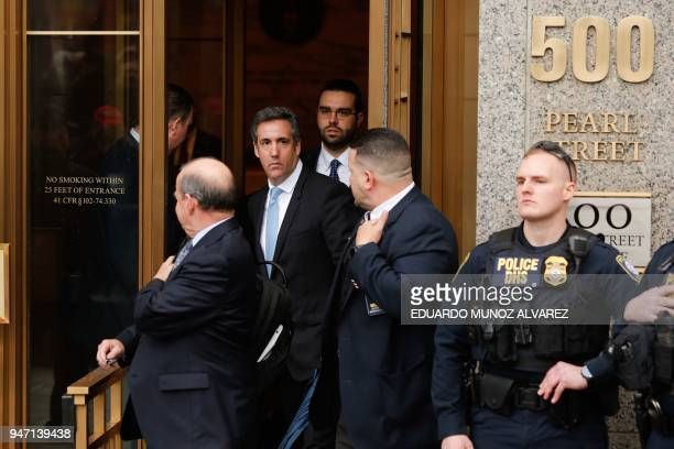 President Trumps lawyer Michael Cohen exits the US Federal Court on April 16 in Lower Manhattan New York President Donald Trump's personal lawyer...
