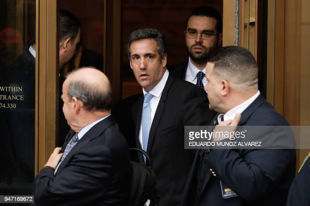 TOPSHOT President Trumps lawyer Michael Cohen exits the US Federal Court on April 16 in Lower Manhattan New York President Donald Trump's personal...
