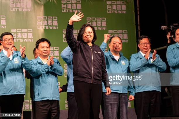 President Tsai Ing-Wen and the DPP team in front of their supporters after the speech delivered following Tsai's victory and re-election as President...
