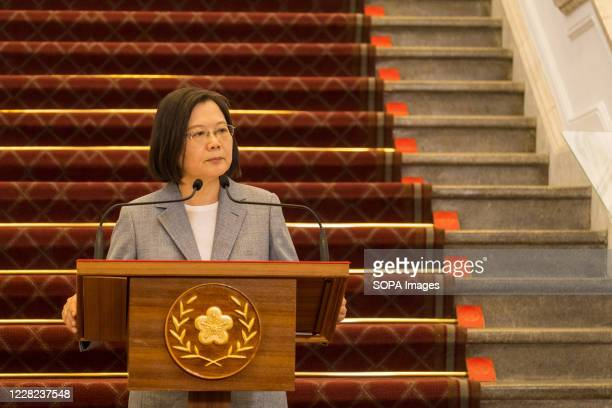 President Tsai Ing-wen speaks during a press conference at the presidential palace. Taiwan President Tsai Ing-wen expressed her desire this week for...