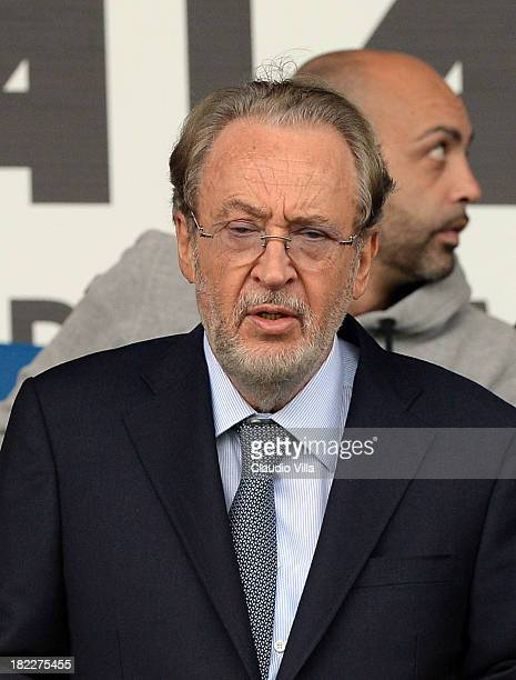 President Udinese Calcio Gianpaolo Pozzo looks during the Serie A match between Atalanta BC and Udinese Calcio at Stadio Atleti Azzurri d'Italia on...