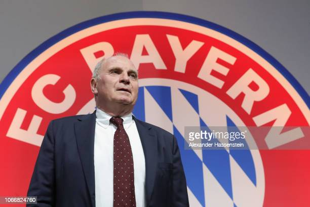 President Uli Hoeness arrives for the FC Bayern Muenchen Annual General Assembly at AudiDome on November 30 2018 in Munich Germany