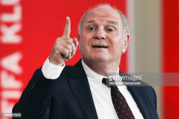 President Uli Hoeness delivers his speech during the FC Bayern Muenchen Annual General Assembly at AudiDome on November 30 2018 in Munich Germany