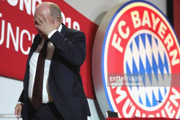 President Uli Hoeness looks on after the FC Bayern Muenchen Annual General Assembly at AudiDome on November 30 2018 in Munich Germany