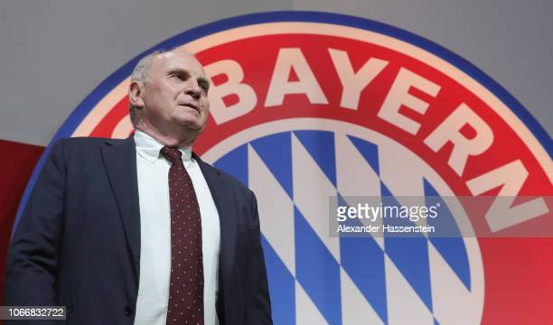 President Uli Hoeness reacts during the FC Bayern Muenchen Annual General Assembly at AudiDome on November 30 2018 in Munich Germany
