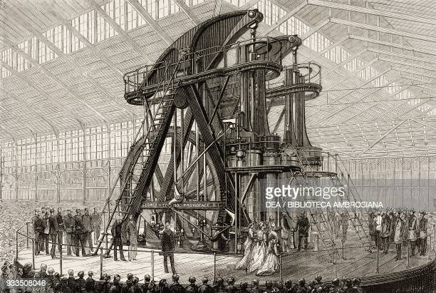 President Ulysses Grant and Emperor Pedro II of Brazil starting the Corliss steam engine in the Machinery Hall the American Centennial Exhibition...