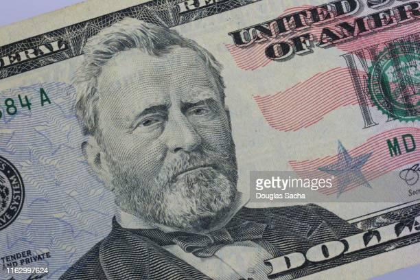 president ulysses s. grant portrait on us cash - presidente fotografías e imágenes de stock