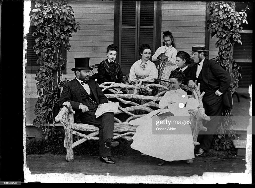 President Ulysses S Grant Seated Left Poses With His Wife