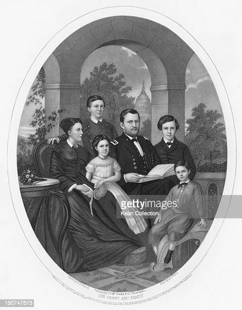 US President Ulysses S Grant with his wife Julia Grant and their children Frederick Ulysses Jr Ellen and Jesse in Washington DC circa 1870 The United...