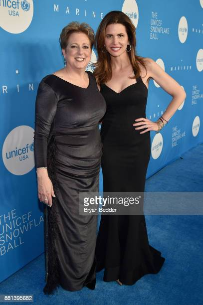 CEO President UNICEF USA Caryl M Stern and Gala CoChair Desiree Gruber attend 13th Annual UNICEF Snowflake Ball 2017 at Cipriani Wall Street on...